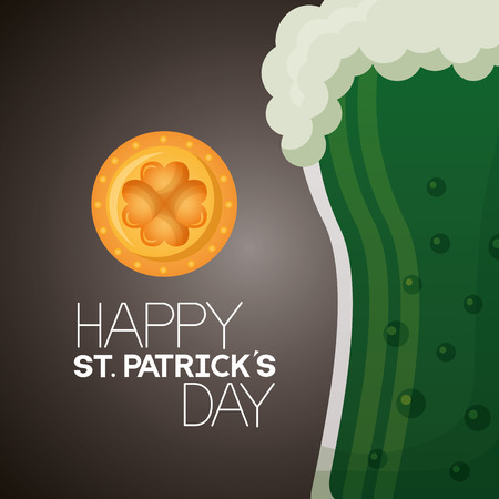 green beer horseshoe coin clover and happy st patricks day vector illustration