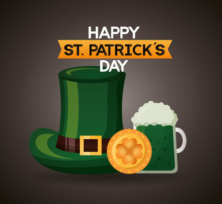 green hat beer and coin happy st patricks day vector illustration Illustration