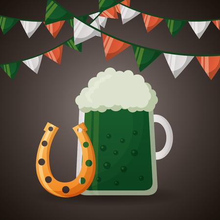 green beer and horseshoe happy st patricks day vector illustration Illustration