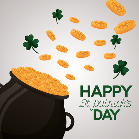 falling coins clovers on cauldron happy st patricks day vector illustration Foto de archivo - 117038138