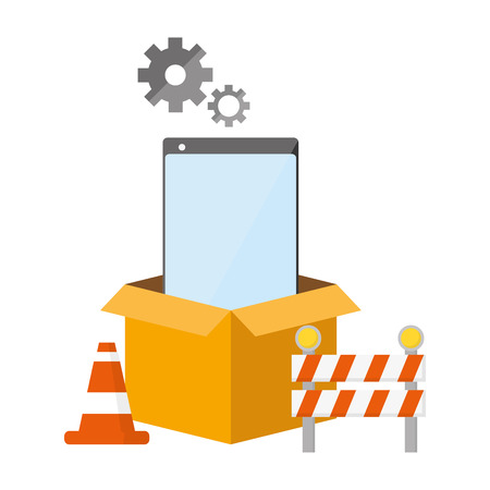 cellphone box warning mobile app development vector illustration Illustration