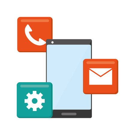mobile app development email phone setting vector illustration Illustration