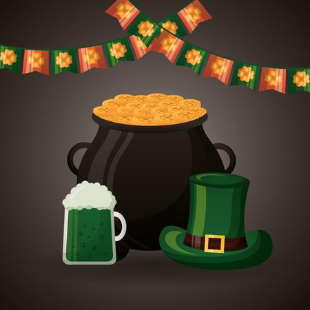 cauldron coins green beer hat happy st patricks day vector illustration Foto de archivo - 117038145