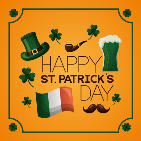 inscription hat beer flag mustache happy st patricks day vector illustration  イラスト・ベクター素材
