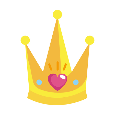 cute queen crown with heart vector illustration design