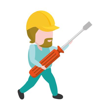 worker holding screwdriver tool construction vector illustration