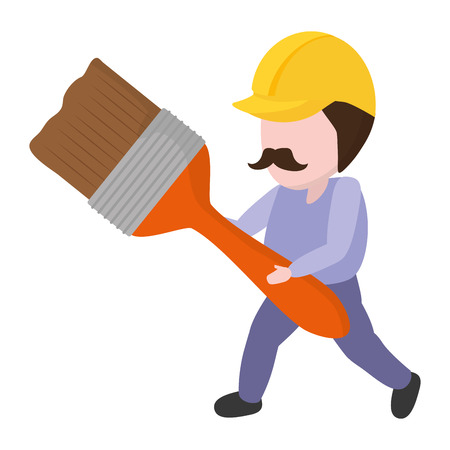 worker holding brush tool construction vector illustration