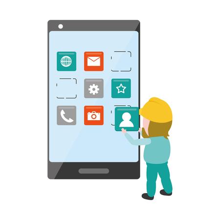 worker install app mobile development vector illustration