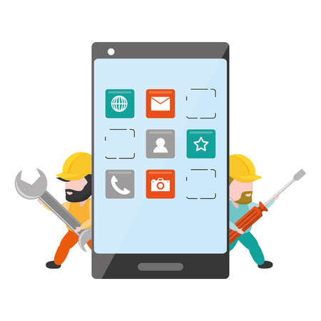 workers with wrench and tool mobile app development vector illustration Çizim