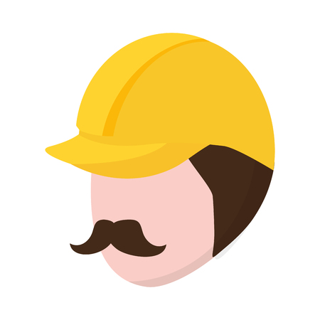 worker face with helmet white background vector illustration