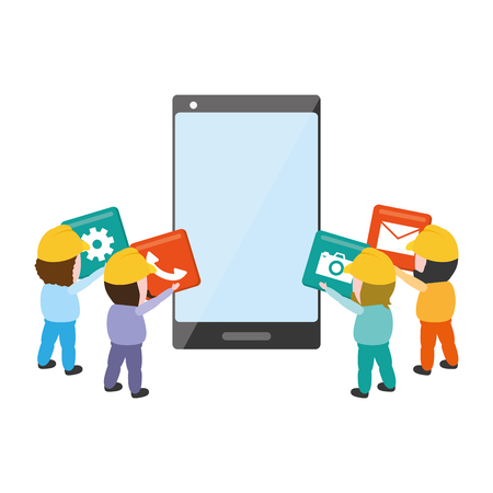 workers put in mobile app development vector illustration Çizim