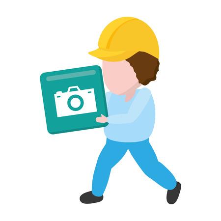 worker with function item mobile app development vector illustration 일러스트