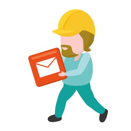 worker with function item mobile app development vector illustration Ilustrace