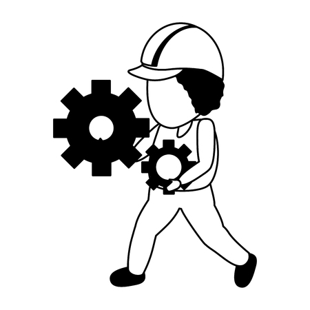 worker holding gears tool construction vector illustration