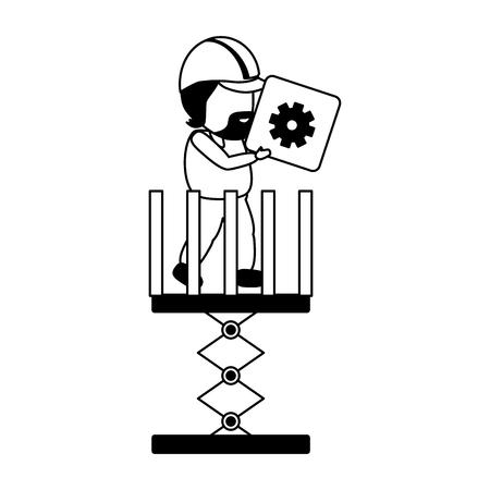 worker with button mobile app development vector illustration Ilustração