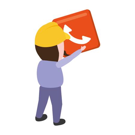 worker with function item mobile app development vector illustration Illustration
