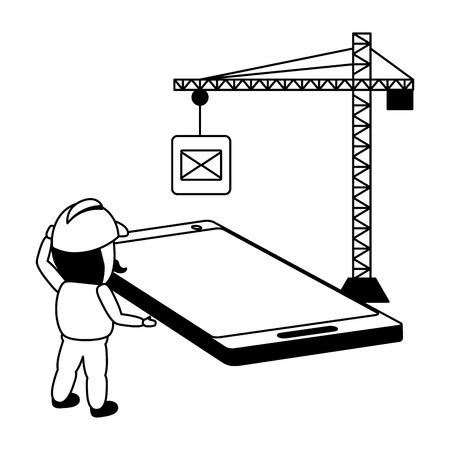worker install with crane mobile app development vector illustration