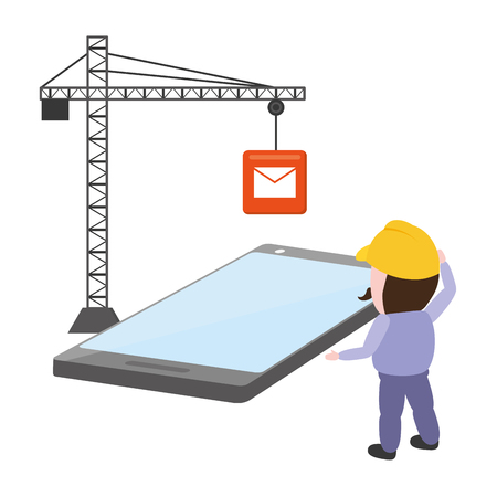 worker install with crane mobile app development vector illustration