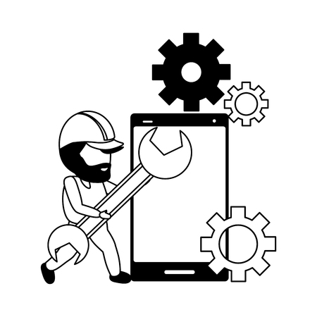 worker with wrench smartphone mobile app development vector illustration