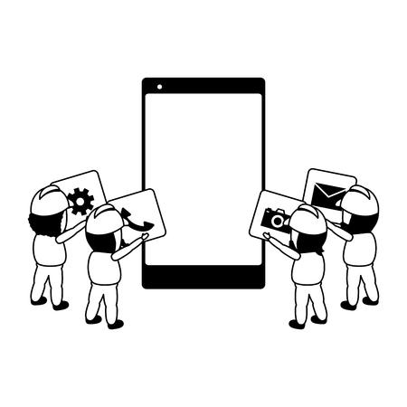 i lavoratori inseriscono l'illustrazione vettoriale dello sviluppo di app mobili