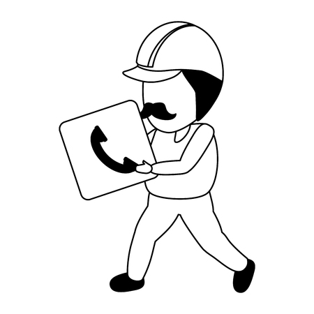 worker with function item mobile app development vector illustration Ilustrace