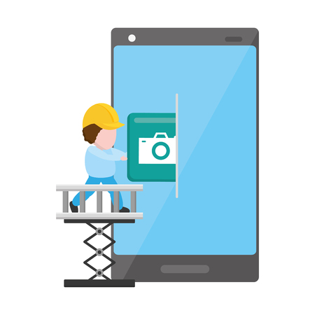 worker camera install mobile app development vector illustration Illusztráció