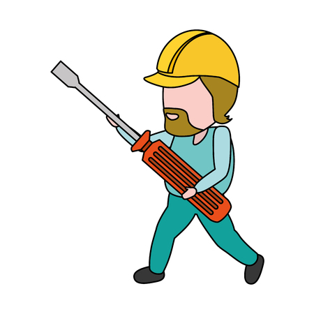 worker holding screwdriver tool construction vector illustration