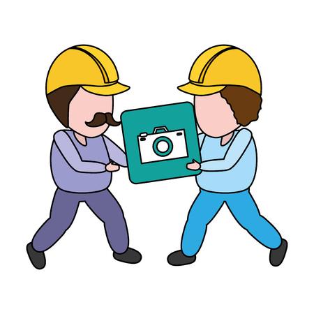 workers with button camera mobile app development vector illustration Ilustração