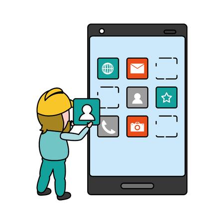 trabajador instalar aplicación desarrollo móvil ilustración vectorial Ilustración de vector
