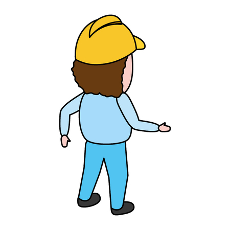 back view construction worker with helmet vector illustration