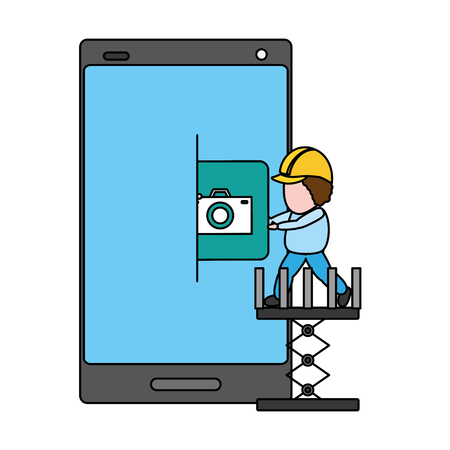 workers put in mobile app development vector illustration 版權商用圖片 - 125213979