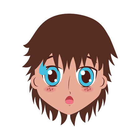 face boy anime expression facial vector illustration