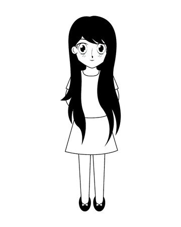 Cute anime girl manga comic vector illustration en blanco y negro Ilustración de vector
