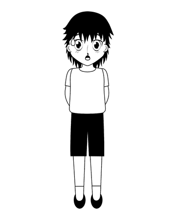 anime boy manga character on white background vector illustration black and white