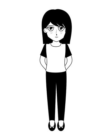 cute anime girl manga comic vector illustration black and white