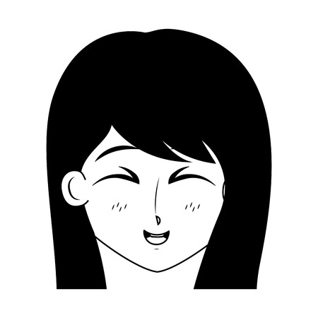 girl anime manga expression facial vector illustration black and white