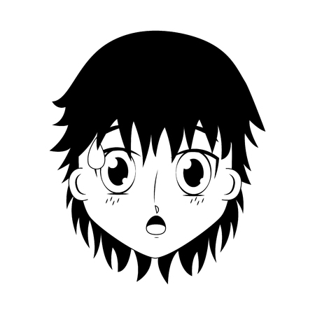 face boy anime expression facial vector illustration black and white