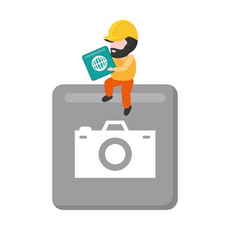 worker on button mobile app development vector illustration Ilustrace