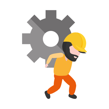 worker carrying gears setting white background vector illustration Vector Illustration