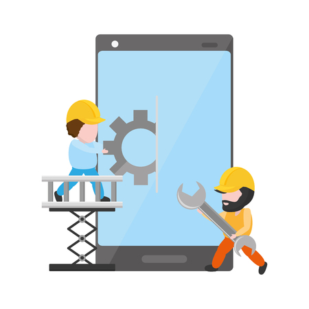 workers with gear and spanner mobile app development vector illustration Vektoros illusztráció