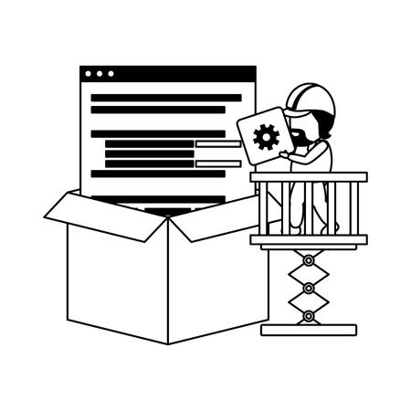 worker on platform with button code mobile app development vector illustration