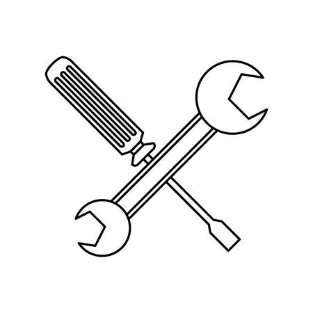 Schraubendreher und Schraubenschlüssel unterstützen Vektorgrafiken