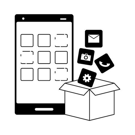 cardboard box apps cellphone mobile development vector illustration