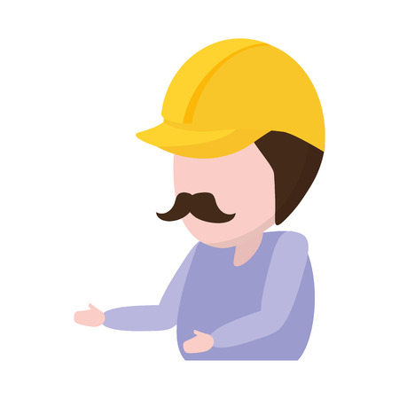 construction worker with helmet professional vector illustration vector illustration