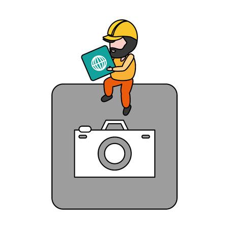 worker on button mobile app development vector illustration  イラスト・ベクター素材