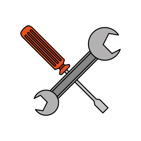 screwdriver and spanner tools support vector illustration