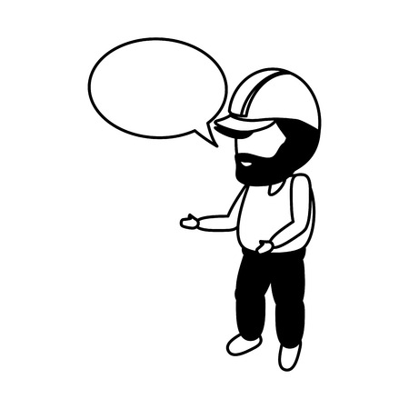 worker with hardhat and speech bubble vector illustration  イラスト・ベクター素材
