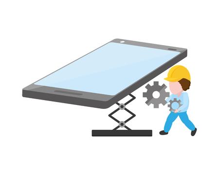 worker install setting mobile app development vector illustration Çizim