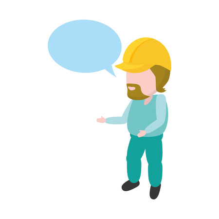 worker with hardhat and speech bubble vector illustration Illustration