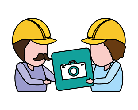 workers with camera app mobile development vector illustration
